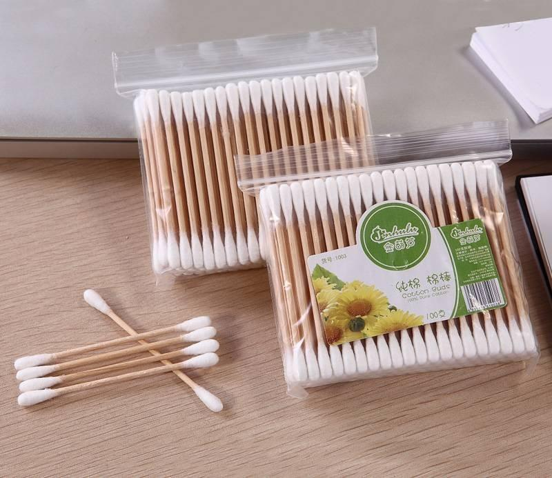 Item No:.1003----100 Pcs Wooden Stick 100% Pure Cotton Buds Packed in PP Ziplock Bag