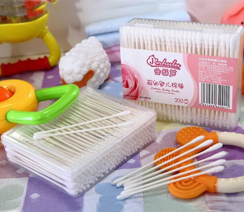 Item No.4001----200 Pcs White Paper Stick Super mini Baby Cotton Buds Packed in PP Box