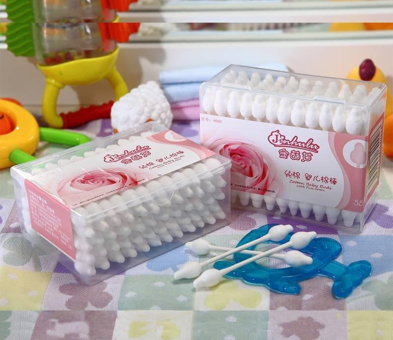 Item No.4002----55 Pcs White Paper Stick Safe Baby Cotton Buds Packed in PP Box