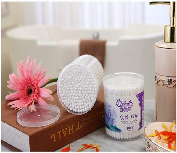 Item No.1007----200 Pcs Plastic Stick 100% Pure Cotton Buds In PP Box