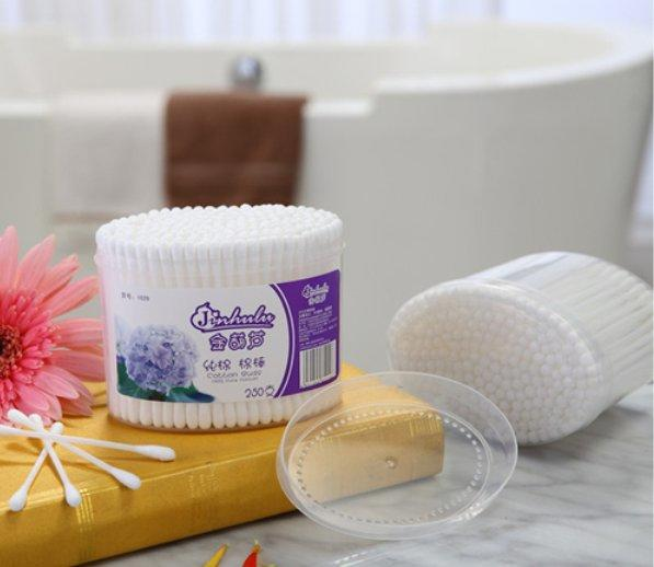 Item No: 1029----250 Pcs Plastic Stick 100% Pure Cotton Buds Packed in PP Can