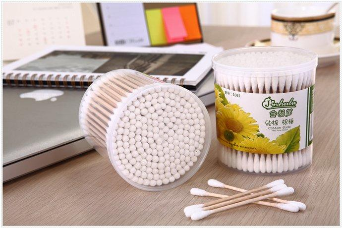 Item No: 1061----200 Pcs Wooden Stick 100% Pure Cotton Buds Packed in PP Can