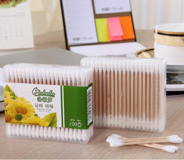 Item No.1041----100 Pcs Wooden Stick 100% Pure Cotton Buds Packed in PP Box