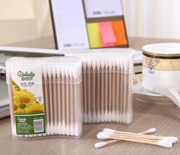 Item No.1055----100 Pcs Wooden Stick 100% Pure Cotton Buds Packed in PP Can