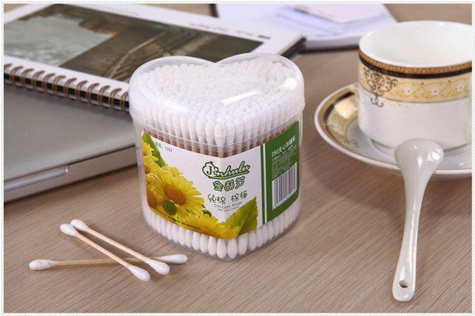 Item No: 1057----250 Pcs Wooden Stick 100% Pure Cotton Buds Packed in PP Can
