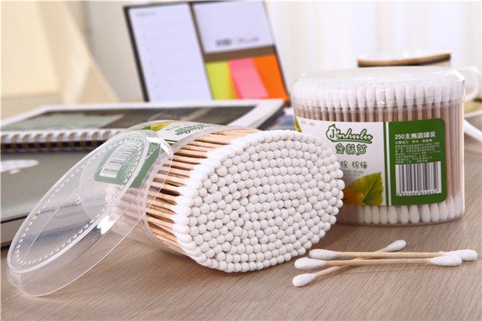 Item No.1063----250 Pcs Wooden Stick 100% Pure Cotton Buds Packed in PP Can