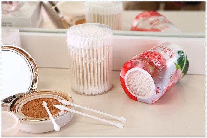 Item No.3001----100 Pcs White Paper Stick 100% Pure Cosmetic Cotton Buds Packed in PP Can