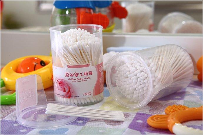 Item No.4006----180 Pcs White Paper Stick Super mini Baby Cotton Buds Packed in PP Can