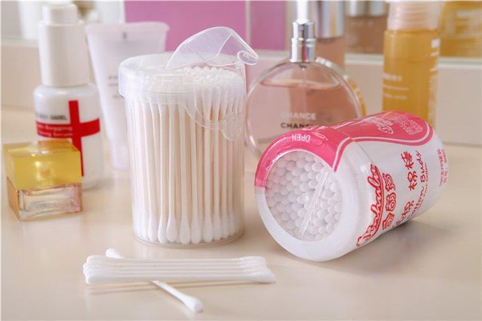 Item No.8002----100Pcs White Paper Stick 100% Pure Cotton Buds Packed in PP Can