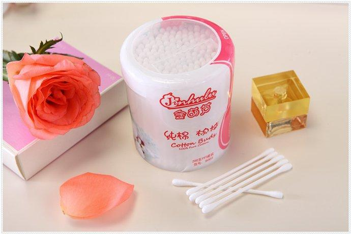 Item No.8003----200 Pcs White Paper Stick 100% Pure Cotton Buds Packed in PP Can