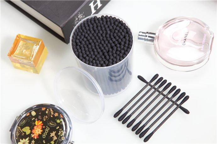 Item No.8005----150 Pcs Black Paper Stick 100% Pure Cotton Buds Packed in PP Can