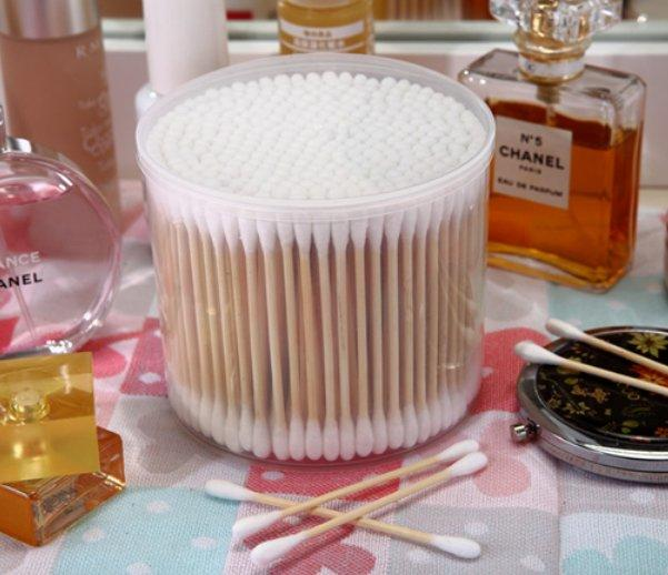 Item No.8008----300 Pcs Bamboo Stick 100% Pure Cotton Buds Packed in PP Can