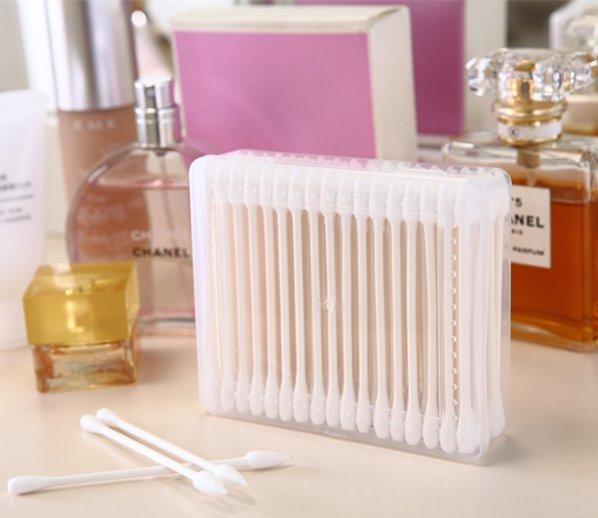 Item No.3005----100 Pcs Paper Stick 100% Pure Cotton Buds Make Up Tool Cotton Swabs Packed in PP Box