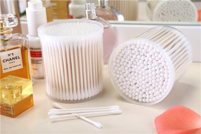 ItemNo.8011----200 Pcs Paper Stick 100% Pure Cotton Buds Packed in PP Can