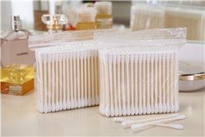 Item No. 8012----100 Pcs Paper Stick 100% Pure Cotton Buds Packed in PP Zip-locked Bag