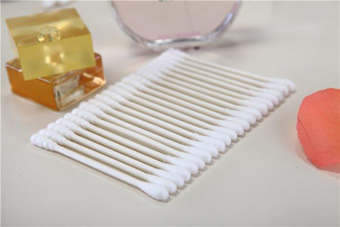 Item No.8013----100 Pcs Paper Stick 100% Pure Cotton Buds Packed in PP Can