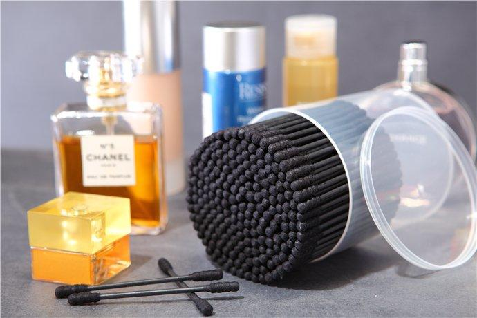 Item No: 8021----200 Pcs Black Paper Stick 100% Pure Cotton Buds Packed in PP Can