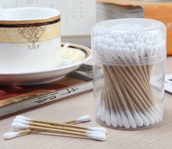 Item No: 8030----100 Pcs Kraft Paper Stick 100% Pure Cotton Buds Packed in PP Can