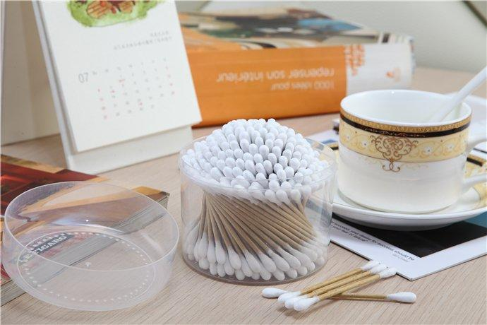 Item No:8031----150 Pcs Kraft Paper Stick 100% Pure Cotton Buds Packed in PP Can