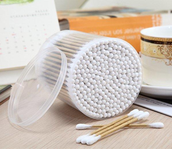 Item No: 8032----200 Pcs Kraft Paper Stick 100% Pure Cotton Buds Packed in PP Can