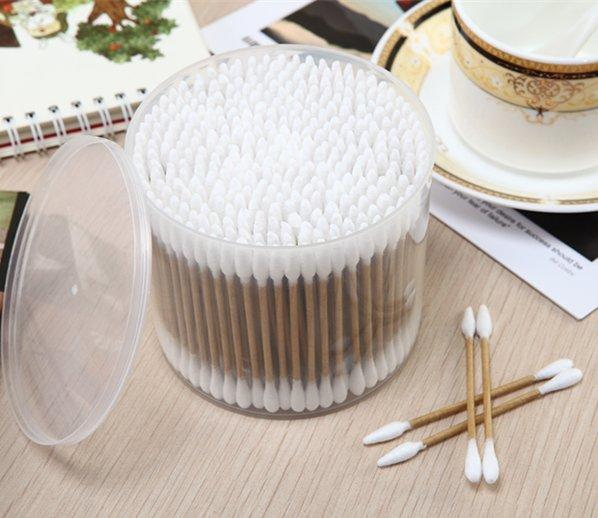 ItemNo:8033----300 Pcs Kraft Paper Stick 100% Pure Cosmetic Cotton Buds Packed in PP Can