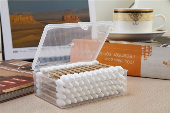 Item No: 8034----60 Pcs Kraft Paper Stick Baby Safty Cotton Buds Packed in PP Can