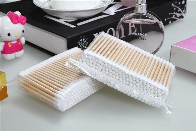 Item No: 8060----160 Pcs Bamboo Stick 100% Pure Cotton Buds Packed in Zip-locked Bag