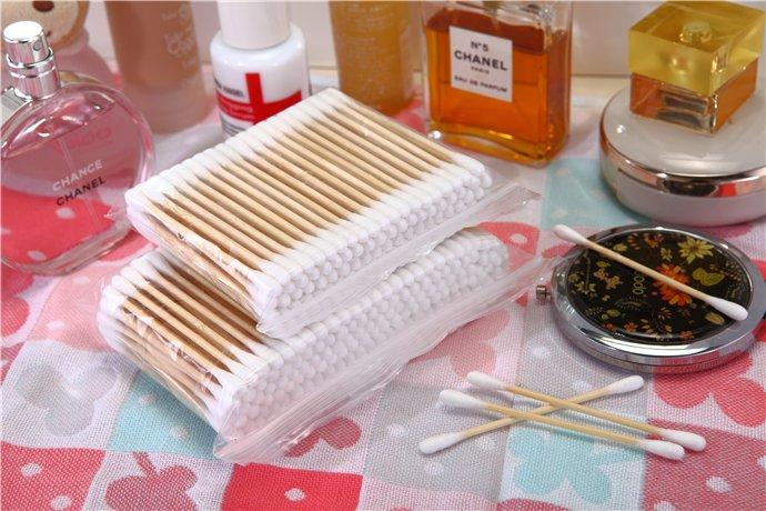 Item No: 8061----200 Pcs Bamboo Stick 100% Pure Cotton Buds Packed in Zip-locked Bag