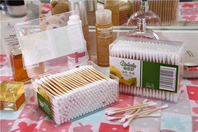 Item No: 8063----200 Pcs bamboo stick 100% pure cotton buds packed in PP box