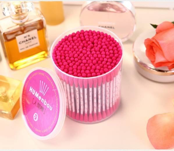 Item No:9002----200 Pcs Printing Paper Stick Red Color Cotton Buds Packed In PP Can