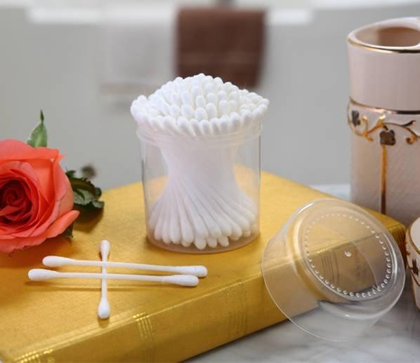 Item No: 1011----100 pcs plastic stick 100% pure cotton buds packed in PP can Item No: 1011