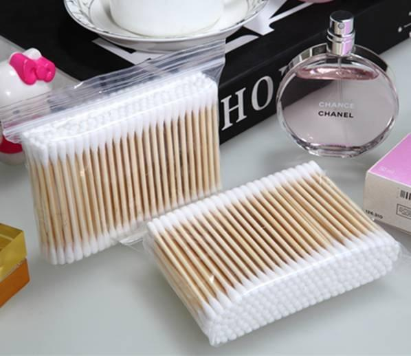 Item No: 1010----160 Pcs Wooden Stick 100% Pure Cotton Buds Packed in PP ziplock bag