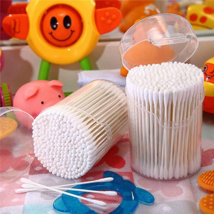 Item No:4007----200 Pcs White Paper Stick Super Mini Baby Cotton Buds Cotton Swabs Packed in PP can
