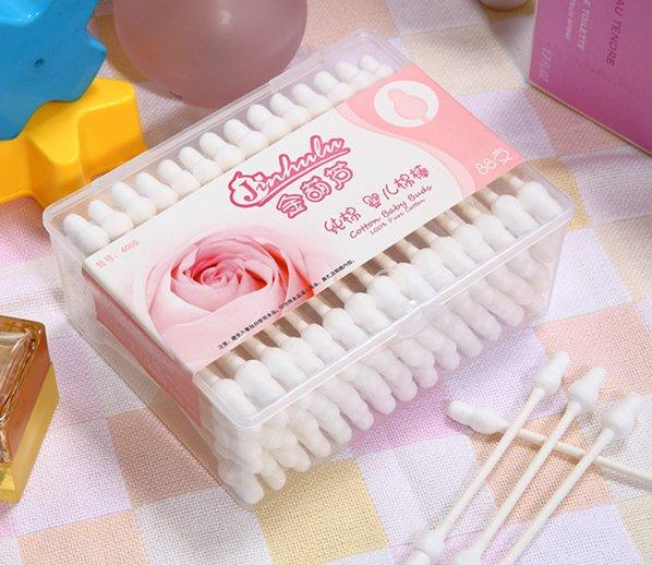 Item No.4005 ----88 Pcs White Paper Stick Safe Baby Cotton Buds Packed in PP Box