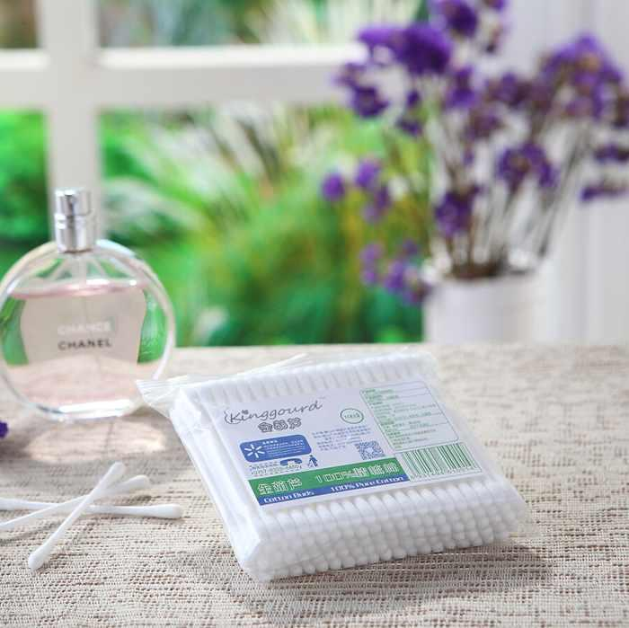 Item No:1001----100 Pcs Of Plastic Stick 100% Pure Cotton Buds Cotton Swabs In PP Bags