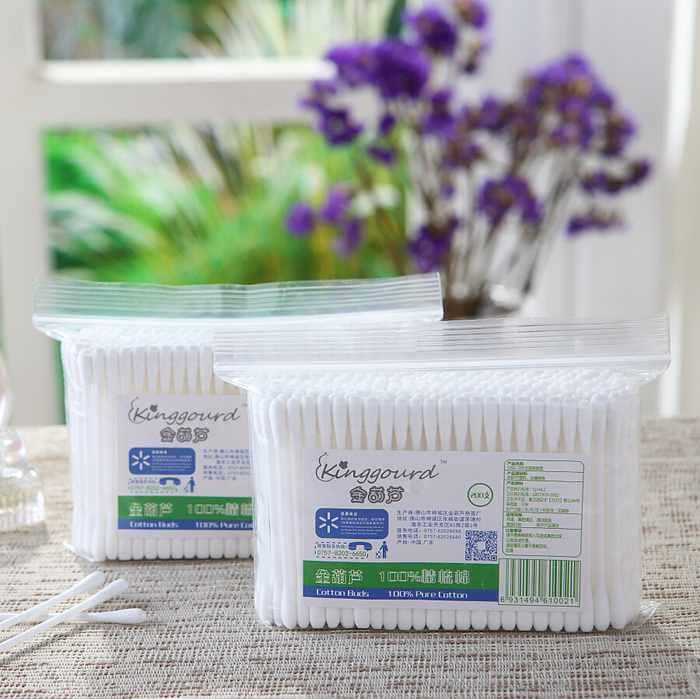 Item No.1002----200 Pcs Of Plastic Stick 100% Pure Cotton Buds Cotton Swabs In PP Ziplock Bags